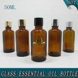 50ml de glanzende Lege Amber Kosmetische Fles van de Essentiële Olie van het Glas