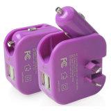 Foldable Auのプラグを持つ1匹の二重USBポート車の充電器のホーム壁の充電器に付き2匹