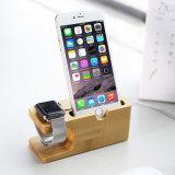 Estação de madeira da doca do suporte do telefone para o relógio e o iPhone de Apple