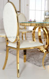 楕円形椅子Cy306を食事する背部PUの革ステンレス鋼のホテル