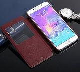 Caixa do telefone de pilha do couro genuíno com o indicador para Sumsung
