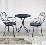 Tabela do ferro da mobília do jardim e jogo ao ar livre da cadeira