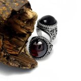 Agate Men's Rings 316L Stainless Steel Fashion Jewellery Black & Red
