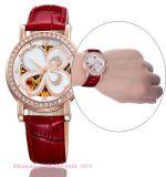 La montre des belles femmes automatiques gracieuses avec la courroie en cuir véritable Fs601