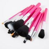 15PCS 메이크업은 분홍색 PU 가죽 가방을%s 가진 장식용 솔 세트를 도구로 만든다