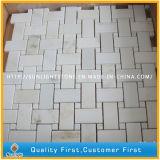 Mosaïque de marbre blanche normale de mur en pierre de Carrare, tuiles de mosaïque blanches