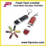 Movimentação de couro do flash do USB do estilo com seu logotipo (D505)
