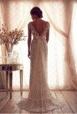 Колонка втулки крышки сбор винограда Beaded/платье венчания оболочки с реальным фотоим