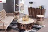 Table basse en acier inoxydable Rose Gold avec dessus en marbre