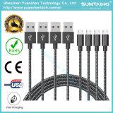 De kleurrijke Nieuwe van het Micro- USB van de Stof van 1m Nylon Gevlechte Kabel van de Lader Koord USB van de Kabel Doek Gevlechte