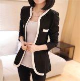 Женщины корейского способа типа тонкие подходящий черные белые одно пальто костюма кнопки
