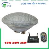 최신 판매 IP68 두꺼운 유리 35W RGB PAR56 옥외 LED 수중 수영풀 빛