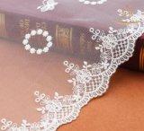 Cordón de la tela de la alineada del cordón L40024/de la ropa del cordón/del ganchillo del algodón del ajuste del cordón