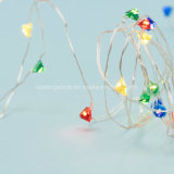 ダイヤモンドの形の花輪ストリングは余分薄い銀製の銅線ストリングULのアダプターの月ライトの60 LEDをつける