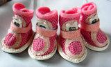 Ботинки собаки кожи поставкы любимчика милые, теплые ботинки любимчика