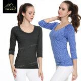 Camicia corrente del manicotto della maglietta lunga di yoga per le donne
