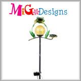 Estaca solar Shaped de las luces de la rana del metal y del vidrio para el césped