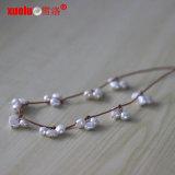 Halsband van de Parel van het Leer van de Juwelen van de manier de Zoetwater voor de Gift van Kerstmis