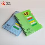 Cuaderno espiral de la cubierta verde de los PP