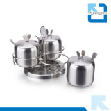 3 parti popolari del sale dell'acciaio inossidabile e vaso della bottiglia & della spezia del pepe con la cremagliera rotativa