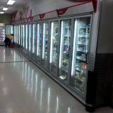 贅沢な灰色カラースーパーマーケットの直立したガラスドアのフリーザー