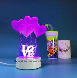 Lámpara recargable de la noche de la dimensión de una variable 3D del corazón de la nueva llegada