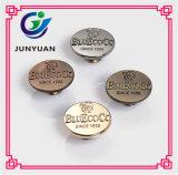 Bouton antique de jeans en métal de logo d'OEM de bouton de partie lisse