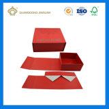 Alta calidad de lujo plegable el rectángulo de regalo de plata brillante del papel de la cartulina con la impresión de la insignia (rectángulo de regalo de papel plegable auto)