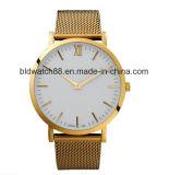 Señoras de encargo del reloj del oro del reloj de la insignia de la manera