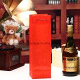 Las bolsas de plástico verdes de los PP del bolso de los regalos de día de fiesta del vino rojo