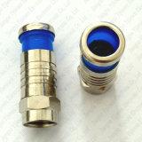 Cables connecteur coaxiaux mâles du connecteur rf de compactage de Rg59 RG6 F