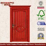 La porte simple en bois avec la fleur conçoit (GSP2-022)