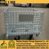 Гальванизированная складывая корзина ячеистой сети металла с колесами для хранения пакгауза