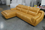 Mobília de sofá de couro de grão superior de 4 lugares (A849)