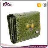 Повелительница выбитая бабочкой Multi функции неподдельной кожи зеленого цвета бумажника женщин Fani роскошной Бумажник