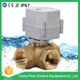 """1 """" Dn25 L manera motorizada eléctrica de cobre amarillo horizontal portuaria de la válvula 3 del control de bola"""