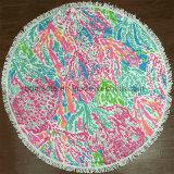 Toalla de playa redonda de la impresión de Microfiber de la impresión reactiva con las borlas