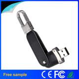 Vara livre da memória do couro USB2.0 da cópia do logotipo da gravura com Keychain