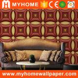 el cuero ancho de la anchura del 1.06m tiene gusto del papel pintado de lujo Guangzhou del PVC 3D para la decoración interior