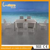 고품질 알루미늄 제작 옥외 수영풀 가구 플라스틱 목제 테이블 및 의자