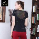 Dessus sexy de Blakless de chemise de noir de T-shirt de yoga pour le sport