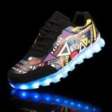 Светящие Unisex вскользь ботинки СИД освещают вверх обувь шнуруют вверх USB тапки перезаряжаемые