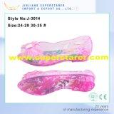 Сандалии студня PVC симпатичных ребёнков материальные с украшениями цветка студня