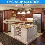 Cozinha americana do bordo da madeira contínua da mobília da cozinha com console