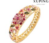 Überzogenes Schmucksache-Armband der FormBangle-72 rhinestone-stilvolles Blumen-24k Gold