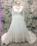 Tamaño Plus princesa vestido de novia de encaje de manga larga para la novia