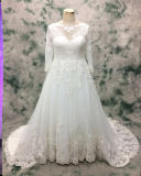 Princess Plus Size vestido de noiva de renda longa para noiva
