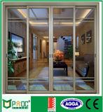 Горячая раздвижная дверь алюминия Tempered стекла двойника продавеца