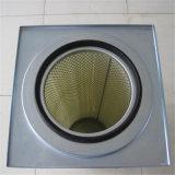 Cartouche cylindrique de filtre à air de couvercle carré pour le collecteur de poussière