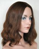Populor 금발 꼬부라진 중간 머리 가발